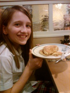 Brie with her Stack of Pancakes