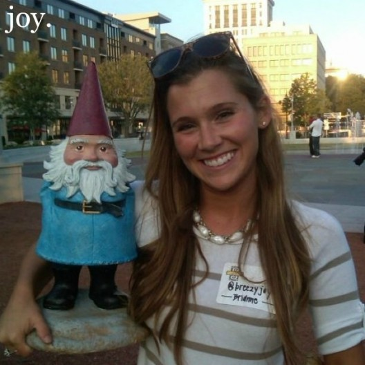 Me and the Gnome hanging out in Ellis Square